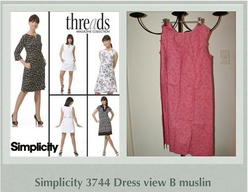 Simplicity 3744 Dress view B muslin WIP