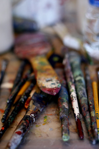 her paint brushes