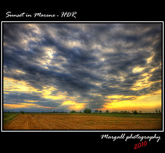Sunset in Marene - HDR (Margall photography) Tags: sunset italy field canon photography italia tramonto 10 sigma piemonte marco rays 20 cuneo hdr 30d galletto marene margall
