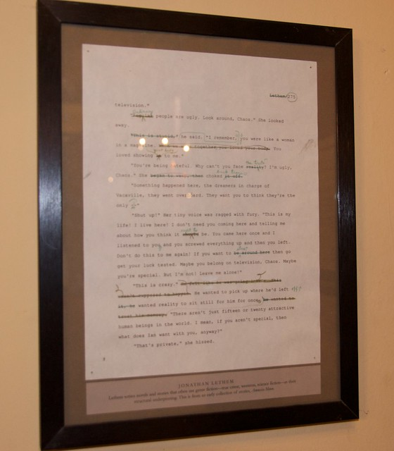 Jonathan Lethem manuscript page at 826 Day Write-a-thon for 826 Valencia by Steve Rhodes