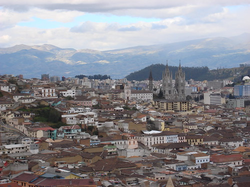 Quito - City, with View of Basílica del Voto Nacional, Seen from Yaku Museo del Agua