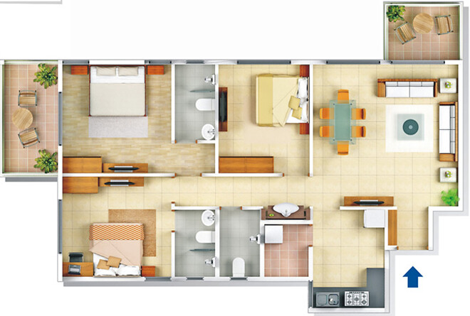Darode Jog's Westside-County Pimple Gurav Pune 411 027: 3 BHK Flat - 1312 / 1316 Saleable For Rs. 48 to 54 Lakhs + SD+Reg+ST+V