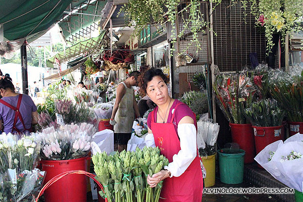 Florist laying out her stocks