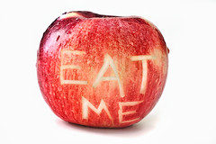 Day Two: Typografi (Eat me!) (dcarlbom) Tags: red apple water yellow fruit typography explore whitebackground eatme temptation frontpage typografi fotosondag