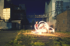 (yyellowbird) Tags: light boy night factory glow shane sparklers idaho streaks
