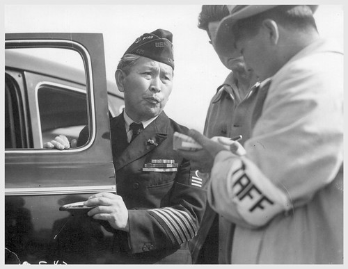 Japanese American Veteran Entering Santa Anita Processing Center 1942