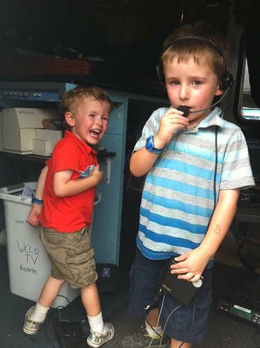 Seth and Sam in the WCCO Remote Truck