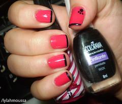 Francesinha Pink & Black - mão direita (Lylah Moussa) Tags: pink rock rosa preto colorida unha risqué charmosa esmalte colorama penélope francesinha cremoso cintilante perolado vigarista