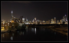 18th Street (Mickey B. Photography) Tags: street bridge summer chicago tower skyline night digital canon buildings river dark lens eos reflex illinois downtown cityscape sears north 18th il ill single theloop dslr willis cookcounty 2010 chicagoillinois thewindycity 50d cityofchicago cityofbigshoulders