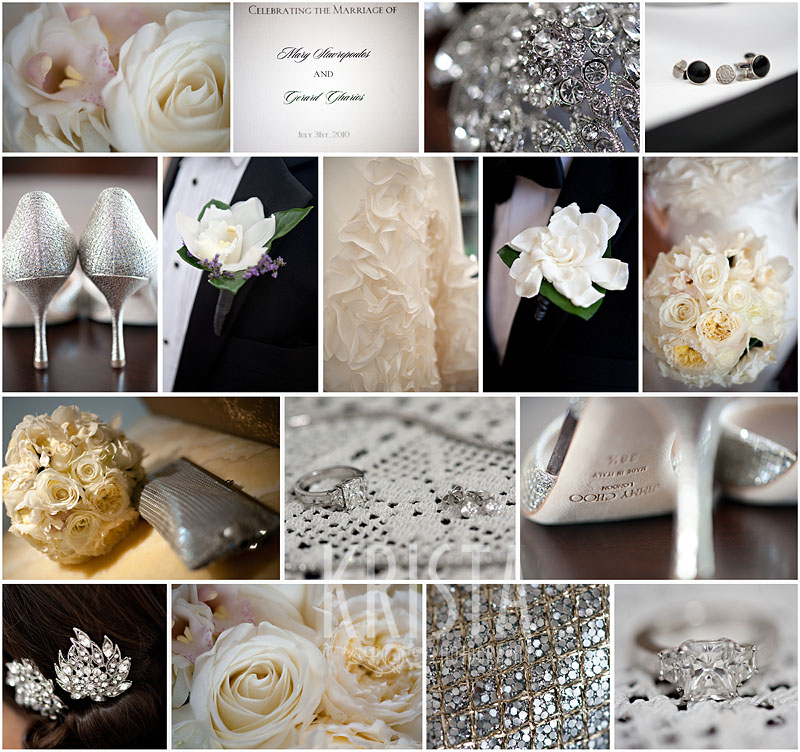 Black, Cream & Silver Wedding Preparation Details