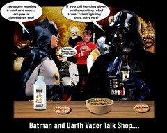 Okay, So A Dark Lord, A Dark Knight, and A Scottish Engineer Walk Into A Bar... (DarkJediKnight) Tags: startrek beer bar starwars humor batman darthvader cantina jamesdoohan adamwest bith moseisley