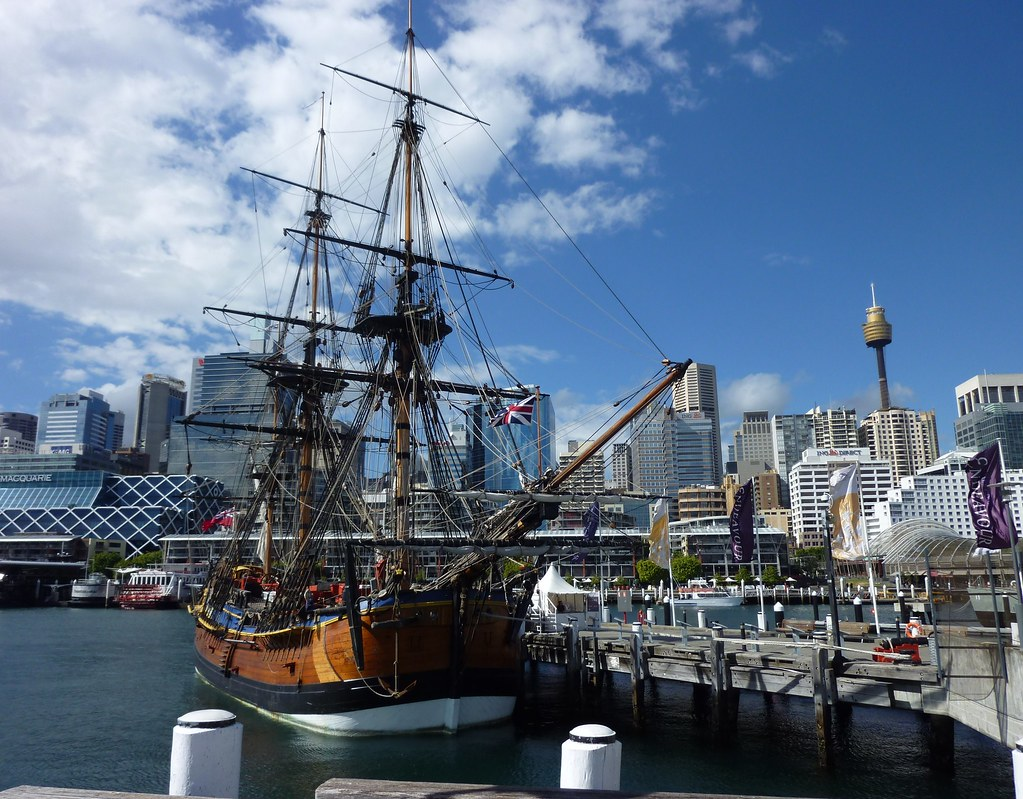 Replica of HMB Endeavour and Sydney skyline