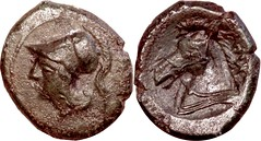 17/1c didrachm-litra coinage, Minerva Horsehead Litra, scarce type with both heads facing left