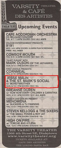 09/19/10 Jesse Malin & the St. Mark's Social @ Minneapolis, MN (ad)