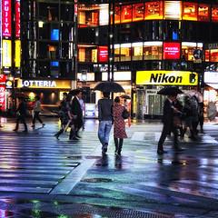 GINZA (ajpscs) Tags: street nightphotography people color rain japan umbrella japanese tokyo ginza nikon couple streetphotography pedestrian  nippon   intersection crosswalk salaryman yurakucho pedestriancrossing fujiya lotteria d300 signallight  yrakuch  ajpscs