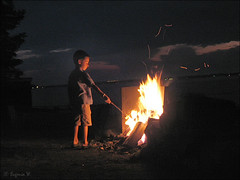 Roasting marshmallows (Genie W.) Tags: people lake fire canonpowershots45