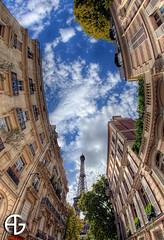 ( I ) (A.G. Photographe) Tags: sky cloud fish paris france tower nikon tour cloudy eiffeltower eiffel fisheye ciel toureiffel nikkor nuage franais hdr parisian anto xiii parisien 16mmfisheye d700 antoxiii hdr9raw