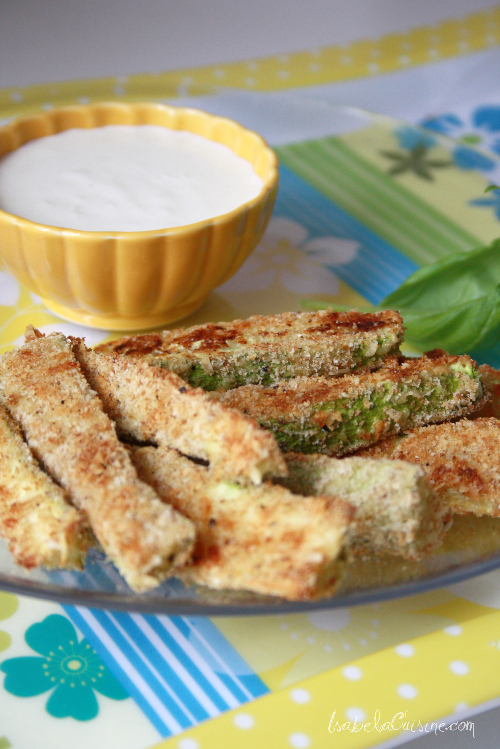 Parmesan Zucchini Strips with Creamy Parmesan Dipping Sauce