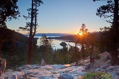 Emerald Bay Sunrise (mwdiaz) Tags: california park morning trees lake sunrise canon bay still rocks state hiking turquoise tahoe calm alpine lee vista filters emerald glassy manfrotto sunstar eaglefalls gnd