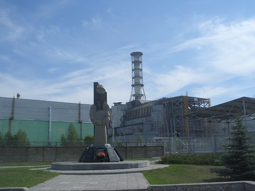 Chernobyl sarcophagus, and a monument