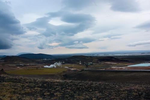 overlooking the town of Mývatn