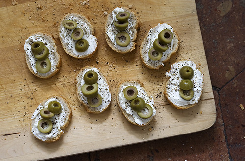 Cream Cheese, Green Olive, and Cracked Pepper Tartines