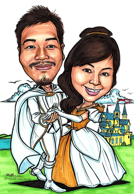 Romantic fairy tale wedding couple caricatures A3