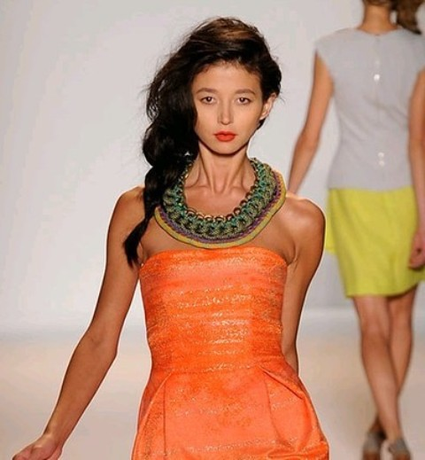 NYC Fashion Week 2010 inspiration Lela Rose Colorful chain and wool thread necklace