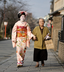 The First Day : Toshichika /   / Kyoto, Japan (momoyama) Tags: street old pink smile japan walking happy hands young maiko  holdinghands