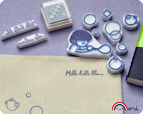 Mille bolle blu hand carved rubber stamps