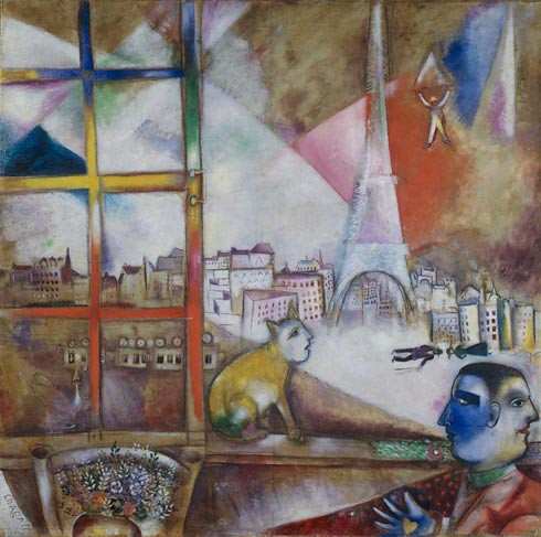 Paris Through the Window  (Paris par la fenêtre), 1913. Oil on  canvas, Marc Chagall