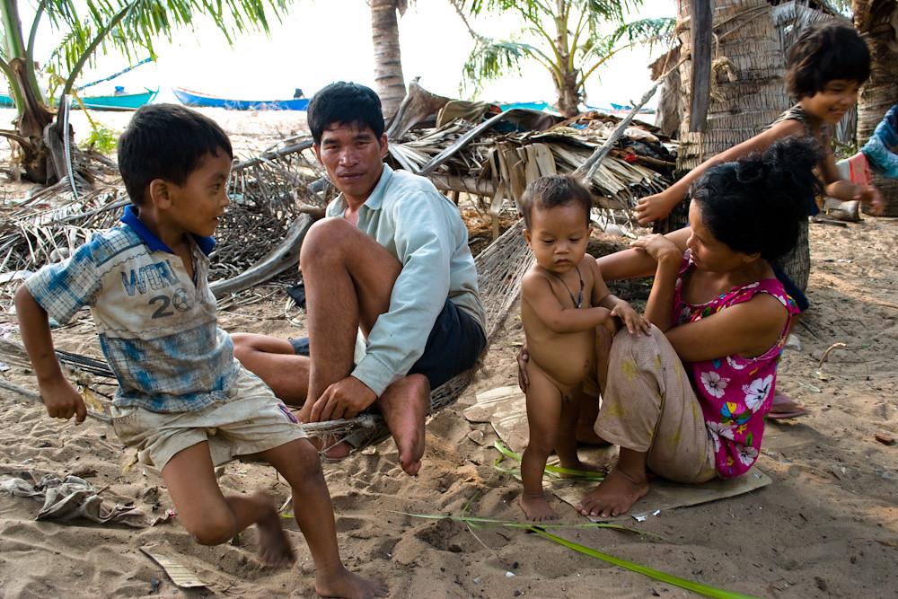 Cambodia. Fishing family near Kep.