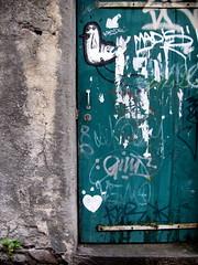 green door (overthemoon) Tags: door white green wall grey graffiti schweiz switzerland closed suisse heart gray tags vert porte svizzera vevey vaud romandie
