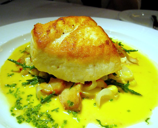contrast in textures fish of the day pan seared halibut