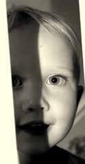 B&W Peek-a-boo! (ClareS76) Tags: uk family portrait england blackandwhite canon toddler child candid selftaught amateur 550d