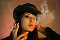 Smoke (a.kristala) Tags: pink light red portrait woman black hot sexy eye girl beautiful beauty look hat fashion modern lady female dark long hand eyelashes adult habit cigarette smoke rich young style atmosphere cigar sensual retro nails jacket sight brunette posh seductive luxury tobacco hold vamp cigarillo