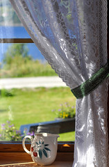 kitchen window... (Grey travel) Tags: shadow summer sun reflection green window norway view curtain jug telemark