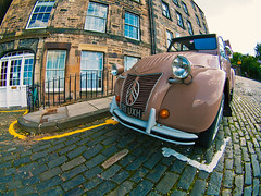 No need to hurry (Sator Arepo) Tags: leica french edinburgh citroen fisheye 2cv zuiko digilux pavestone digilux3