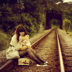 Runaway love (explored, thank you) (JolsAriella) Tags: selfportrait railway teddybear around12weeksagoawomandiedaroundhereshewasrundownbythetrainoo itrynottouploadsimilarphotosbutikindofgaveinthistime andyesikilledmytightswhilehikinguptothisrailway alotofthornybusheswereintheway