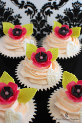 Happy Anniversary! (Little Cottage Cupcakes) Tags: birthday pink wedding black flower leaves cupcakes heart anniversary limegreen cupcake hotpink littlecottagecupcakes