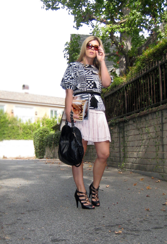 black and white and baby pink+geometric blouse +lace up heels