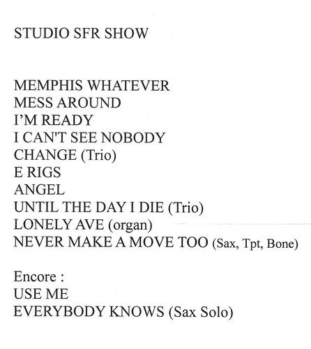 Robin McKelle Studio SFR setlist