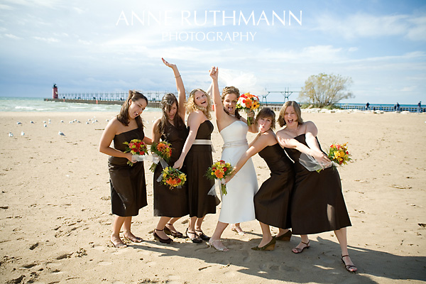 Bridesmaids Having Fun on Beach