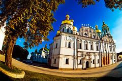 Kyievo-Pecherska lavra (filchist) Tags: blue summer sky clouds canon gold view cathedral ukraine fisheye cupola 16mm kiev zenitar 2010  lavra         kyievopecherska