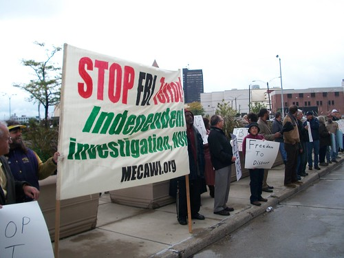 Detroit activists gather at the McNamara Building to demand a halt to attacks by the federal government against anti-war and solidarity organizations. The FBI staged raids in numerous cities targeting several organizations. (Photo: Abayomi Azikiwe) by Pan-African News Wire File Photos