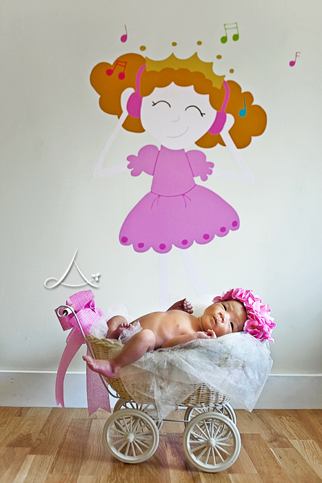 That wall sticker & her little toy baby stroller are too cute!