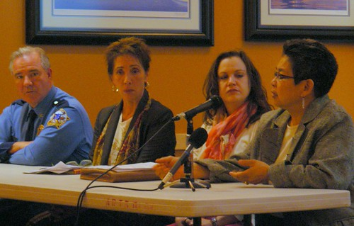 Col. Audie Holloway of the Alaska State Troopers, Nancy Haag of STAR, Suzi Pearson of AWAIC, and Sandy Samaniego of CDVSA