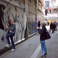 P1010676 - Getting close to nature (Derek Midgley) Tags: pictures street girls david cute art loving fun happy graffiti jones pretty union melbourne victoria lane rhino much colourful taking share bourke the admirers so stphotographia