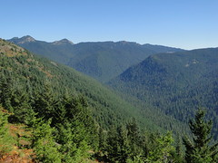 Views below rocky vista on Shriner Peak trail.