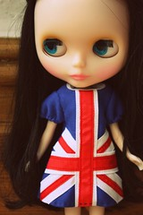 Melody modelling her union jack dress from Boutique du Lupi at Blythecon UK